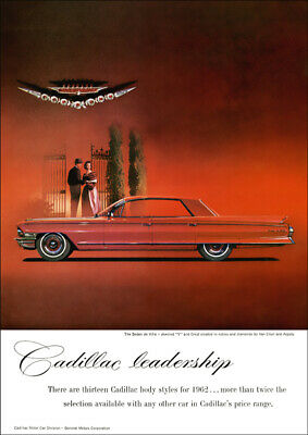 1962 Cadillac Sedan De Ville Retro A3 Poster Print From Advert 1962