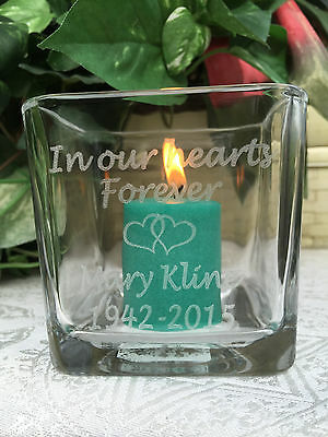 "1 Personalized ETCHED 3"" Glass Candle Holder for Funeral, Bereavement Gift"