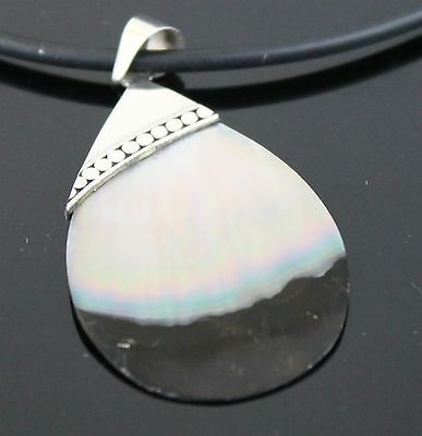 Vintage Hand Crafted Prism Tear-Shaped Abalone Shell Pendant 925 Sterling Silver