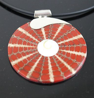 Vintage Hand Crafted Red White Abalone Shell Pendant 925 Sterling Silver
