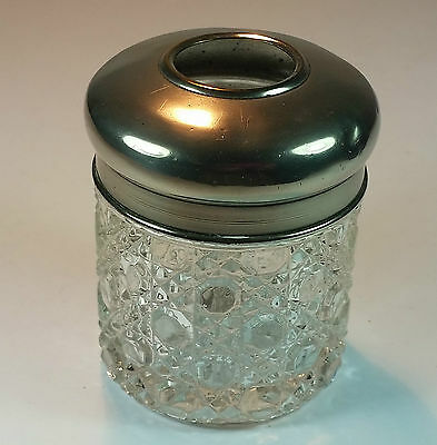 Antique White Metal Lidded Glass Dressing Table Trinket Hair  Tidy Pin Pot