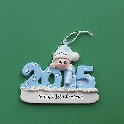 Baby's First Christmas Personalized Ornament - Boy
