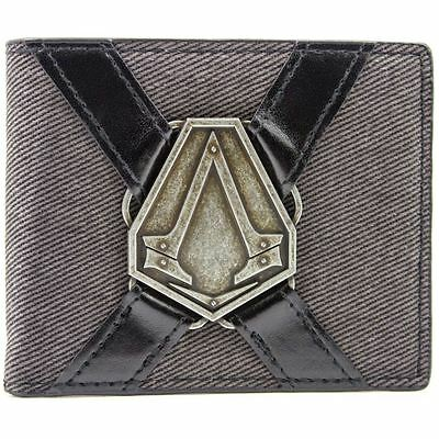 New Official Ubisoft Assassins Creed Syndicate Silver Symbol Grey Bi-Fold Wallet