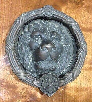 Huge Vintage Oil Rub Bronze Solid Brass Lion Head Front Door Knocker Plate