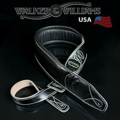 Walker & Williams Extra Wide Double Padded Premium BlackLeather Guitar Strap