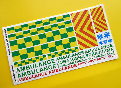 SLOT CAR SCALEXTRIC 1/32nd scale 'AMBULANCE' EMERGENCY stickers decals
