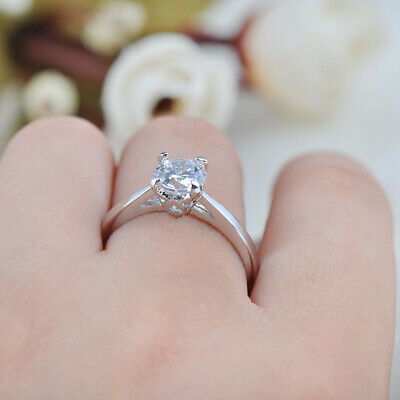 6mm White Gold Filled Round Cut White Sapphire Claw Ring Wedding Crystal Jewelry