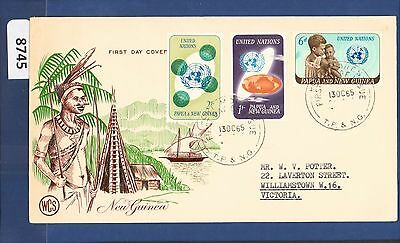 1965 Papua New Guinea FDC United Nations (3) Port Moresby Wesley (8745)