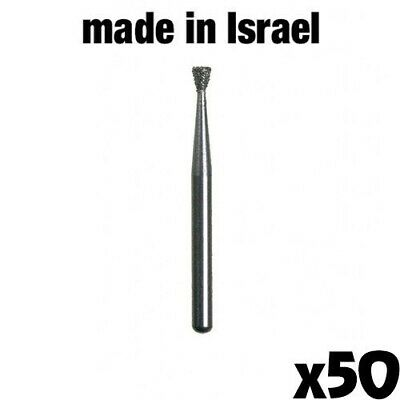 50x Dental Diamond Burs for High Speed Handpiece FG Inv.Cone 1.6M Made in Israel