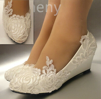 White rose lace Wedding shoes flat low high heel wedges flower bridal size 5-12