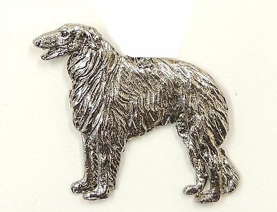 Borzoi  Brooch, Silver Plated