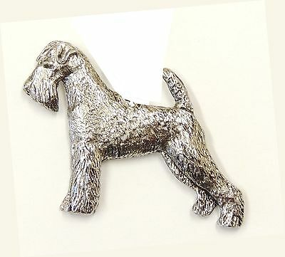 Airedale Terrier Brooch  Silver or Gold Plated with velvet gift bag