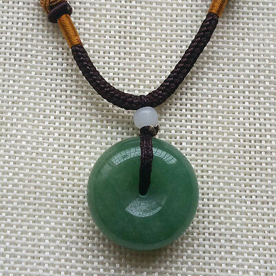 Chinese Natural Green JADE PENDANT Ping'an Circle Donut Amulet Lucky Charm A-8