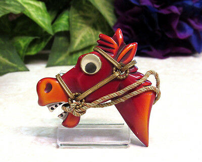 Vtg RARE 1940's Bakelite Googly Eyed Horse Head Figural Pin Brooch - BOOK PIECE!