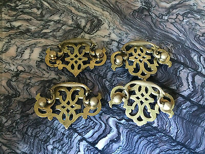 Antique Vintage Lot Of  Brass Metal Drawer Cabinet Pull Drop Handle Knob