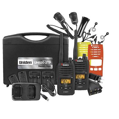 Uniden Uh820S-2Tp Tradie Pack 2W Uhf Handheld Radio 80 Channel 2 Way Cb Rugged