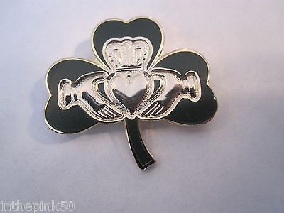 "Irish ""Shamrock & Claddagh"" Pin St Patricks Day  Irish Pride"