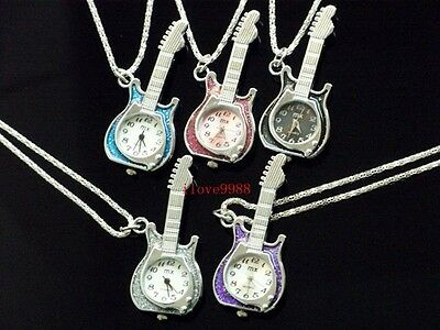 Newly 10pcs Guitar Necklace Pendant Pocket Watches quartz 5 colous USF53