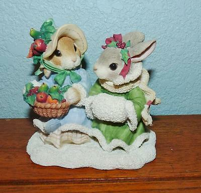 "1996 Enesco My Blushing Bunnies Figurine ""hope Brings A Bountiful Harvest""178632"