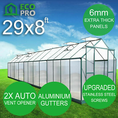 NEW PREMIUM 6mm Polycarbonate Greenhouse HOT HOUSE Garden Shed 8.6M