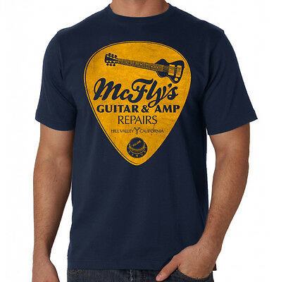 Back To The Future Inspired McFlys Guitar Repairs 80's Comedy Blue Movie T-Shirt