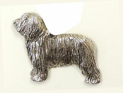Bearded Collie Dog Brooch, Silver Plated