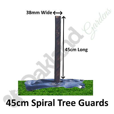 5 X ( 45CM X 38MM ) Brown Spiral Tree Guards Shelters Protectors Rabbit Hedge