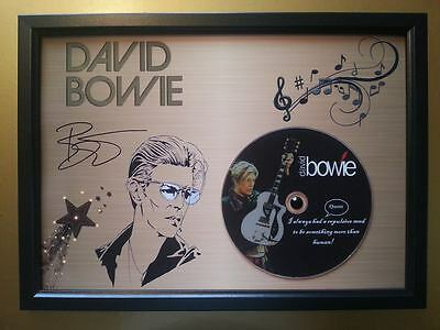 DAVID BOWIE Memorabilia CD Quote frame on gold background with Printed autograph