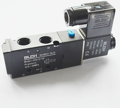"""DC12V Pneumatic Electric Solenoid Air Valve 5 Way 2 Position 1/4""""PT  BLCH"""