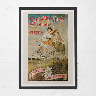 CLASSIC BICYCLE POSTER - Antique German Bicycle Poster - Art Nouveau Poster, Hig