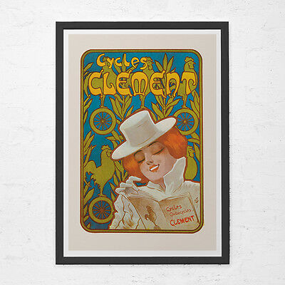 ANTIQUE BICYCLE POSTER - Cycles Clement Poster - Art Nouveau Poster, High Qualit