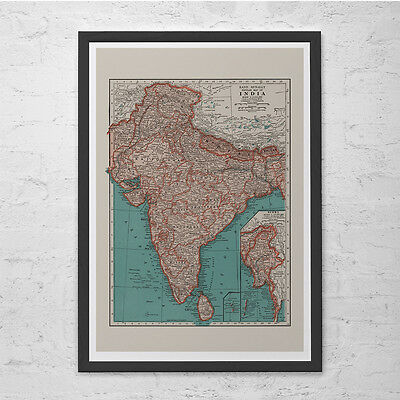 INDIA MAP PRINT - Vintage Map of India - Old Map Print, Vintage Wall Art, Antiqu