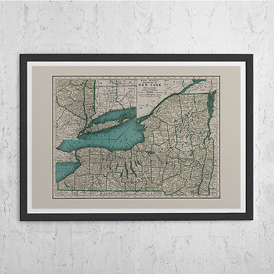 VINTAGE Map of NEW YORK  - New York State Vintage Map Wall Art - Vintage Map Rep