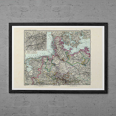VINTAGE GERMANY MAP Antique Wall Art - Vintage Map of Northern Germany - Europe