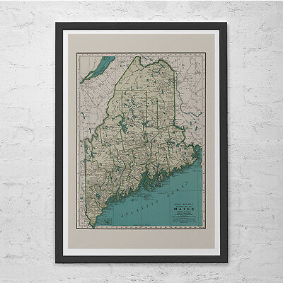 MAINE MAP PRINT - Vintage Map of Maine - Old Map Print, Vintage Wall Art, Antiqu