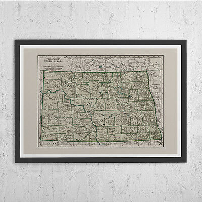 NORTH DAKOTA MAP- Vintage Map of North Dakota Wall Art - Vintage Map Reproductio