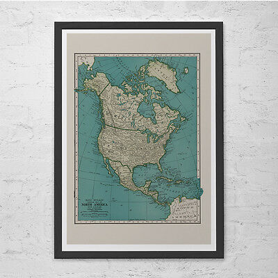 NORTH AMERICA MAP - Vintage Map of North America - Retro Map Print, Historical