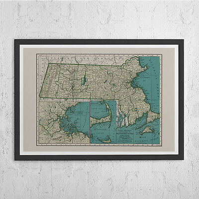MASSACHUSETTS STATE MAP - Vintage Map of Massachusetts - Antique Map Print, Hist