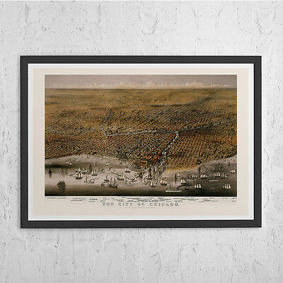 CHICAGO MAP - Antique Wall Art - Vintage Map of  Chicago - Old Map Print, Vintag