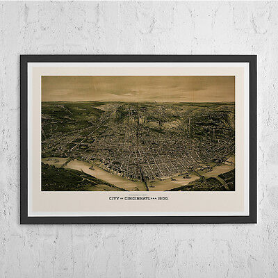 CINCINNATI MAP PRINT - Antique Wall Art - Vintage Map of Cincinnati - Old Map