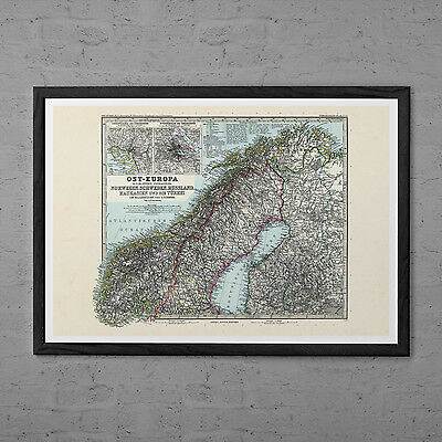 VINTAGE NORWAY MAP Print Antique Wall Art - Vintage Map of Norway and Russia