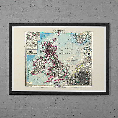 GREAT BRITAIN Map Antique Wall Art - Vintage Map of Britain - England map Print