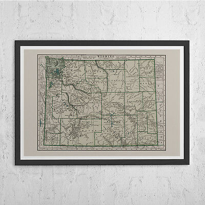 VINTAGE WYOMING MAP - Vintage Map of Wyoming  - Antique Map Print, Historical Wa