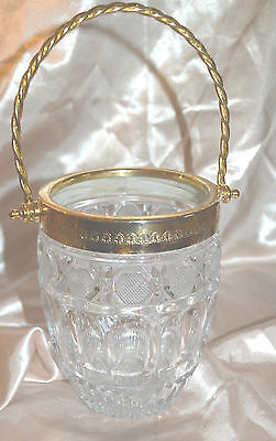 Vintage Pressed Glass And Gold Metal Embossed Trim With Handle Ice Bucket