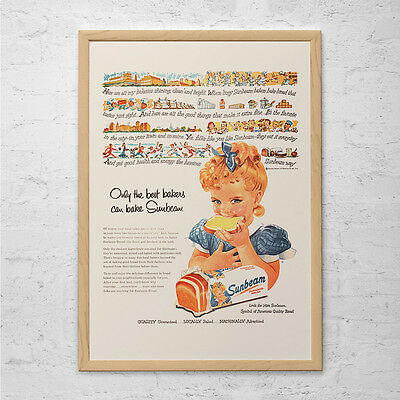 VINTAGE BREAD AD - Retro Sunbeam Ad - Old 1950's Cute Kitsch Ad Mid-Century Post