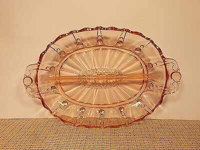 Anchor Hocking Depression Glass Oyster & Pearl Pink Oval Divided Relish Dish 12""