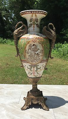 Wong Lee Olive Green Art Deco Porcelain & Bronze Swan Vase