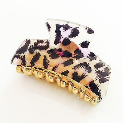 *USA* QUALITY ACRYLIC HAIR CLAW Hairpin Clip Leopard Print Pink French Style 04