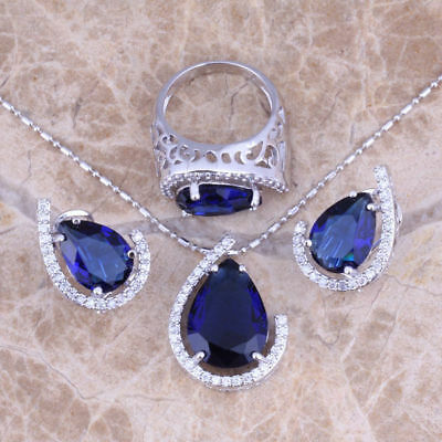Blue Sapphire  925 Sterling Silver Jewelry Sets