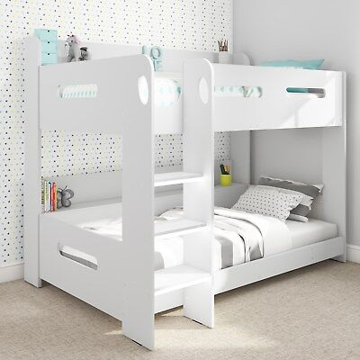 Modern Kids White Wooden Bunk Bed + Storage Shelves